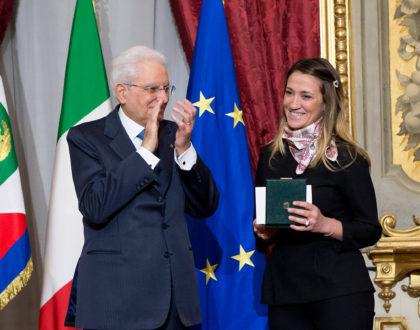 Emanuela Sabbatini riceve l'onorificenza dal Presidente Mattarella